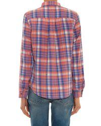 Current/Elliott - Blue The Slim Boy Plaid Shirt - Lyst
