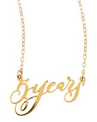 Brevity | Metallic 5 Years Anniversary Calligraphy Necklace | Lyst