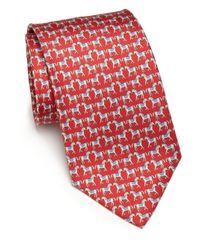 Ferragamo - Red Horse Silk Tie for Men - Lyst