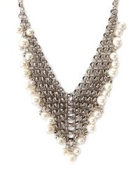 Forever 21 | Metallic Faux Pearl Mesh Bib Necklace | Lyst