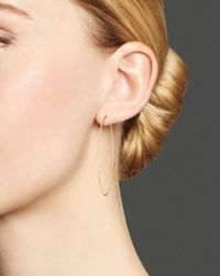 Lana Jewelry Metallic 14k Yellow Gold Small Straight Magic Oval Hoop Earrings
