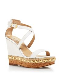 Via Spiga White Cork Bottom Platform Sandals - Moss Wedge