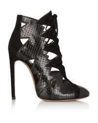 Ala 239 A Lace Cutout Python And Suede Ankle Boots In Black Lyst