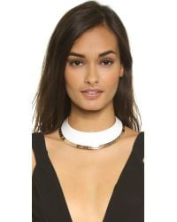 Tory Burch White Wide Dipped Collar Necklace - Ivory/rose Gold