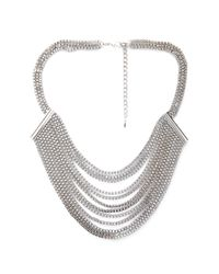 Forever 21 | Metallic Layered Box Chain Bib Necklace | Lyst