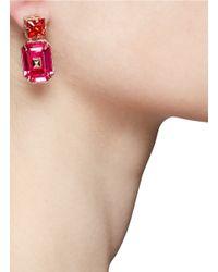 Valentino - Pink Bi-colour Rhinestone Earrings - Lyst