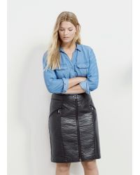 Violeta by Mango - Black Zipped Pencil Skirt - Lyst