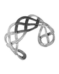 John Hardy | Metallic Classic Chain Silver Lava Wide Braided Cuff With Black Sapphire | Lyst