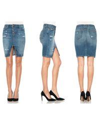Joe's Jeans Blue Button Up Pencil Skirt