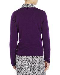 Qi - Purple V-Neck Knit Cashmere Sweater - Lyst