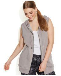 Calvin Klein Gray Performance Plus Size Hooded Vest