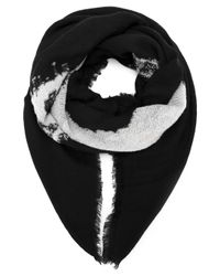Alexander McQueen | Black Burnout Skull-printed Scarf for Men | Lyst