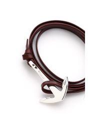 Miansai - Metallic Anchor Leather Wrap Bracelet for Men - Lyst