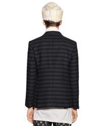 Andrea Pompilio Blue Striped Cotton & Wool Flannel Jacket for men