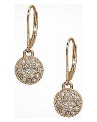 Express | Metallic Mini Pave Disc Drop Earrings | Lyst