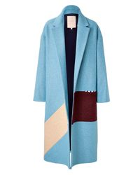 ROKSANDA - Multicolor Larkin Wool Coat In Powder Blue - Lyst