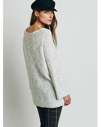Free People - Gray Stella V-neck Pullover - Lyst