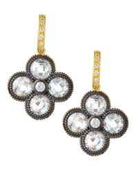 Freida Rothman | Metallic Cz Floral Drop Earrings | Lyst
