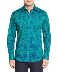 Bugatchi | Green Shaped Fit Kaleidoscope Print Sport Shirt for Men | Lyst