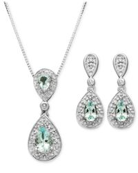 Macy's Metallic Sterling Silver Earrings And Pendant Set, Aquamarine (7/8 Ct. T.w.) And Diamond Accent Teardrop