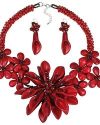 Aeravida | Exotic Floral Burst Statement Red Coral Sterling Silver Jewelry Set | Lyst