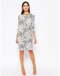 Club L Black Midi Dress In Floral/stripe