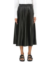 MM6 by Maison Martin Margiela | Black Pleated Faux-leather Skirt | Lyst
