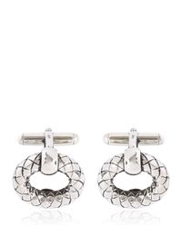 Bottega Veneta | Metallic Intrecciato Antiqued Silver Cufflinks for Men | Lyst
