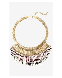 Express - Metallic Metal And Seed Bead Fringe Necklace - Lyst