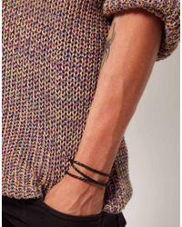 Seven London | Black Leather Woven Wrap Bracelet for Men | Lyst