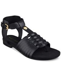Marc Fisher | Black Lea Flat Sandals | Lyst