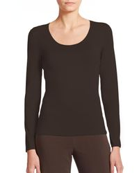 Armani | Brown Scoopneck Jersey Top | Lyst
