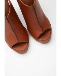 Forever 21 | Brown Faux Leather Peep Toe Slingbacks | Lyst