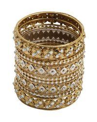 Chamak by Priya Kakkar - Metallic Set Of 4 - Gold And White Bangles - Lyst