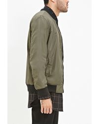 Forever 21 | Green Zipped-sleeve Bomber Jacket for Men | Lyst