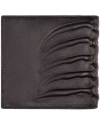 Alexander McQueen - Black Leather Rib Cage Wallet for Men - Lyst