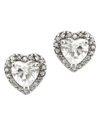 Lord & Taylor | Metallic Sterling Silver And Cubic Zirconia Heart Stud Earrings | Lyst