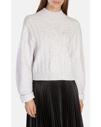 Karen Millen Gray Merino Cable-knit Jumper