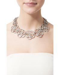 Oscar de la Renta - Metallic Pave Flower Necklace - Lyst