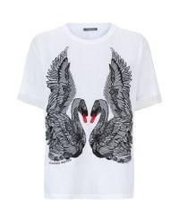 Alexander McQueen - White Embroidered Swan T-Shirt - Lyst