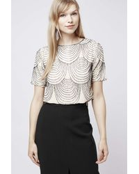 TOPSHOP - Natural Opal Embellished Top By Tfnc - Lyst