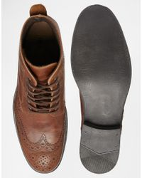 ASOS Brown Brogue Boots In Leather for men