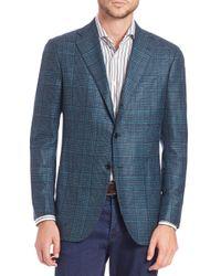 Kiton Blue Cashmere-blend Plaid Jacket for men