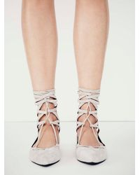 Free People | Gray Shay Lace Up Flat | Lyst