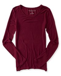 Aéropostale | Red Long Sleeve Solid Layering Tee | Lyst