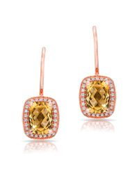 Anne Sisteron - Metallic 14kt Rose Gold Diamond Citrine Rectangle Earrings - Lyst