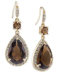Carolee - Gold-tone Brown Crystal Double Teardrop Earrings - Lyst