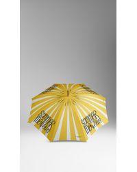 Burberry - Yellow Book Cover Print Walking Umbrella - Lyst