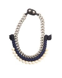 3.1 Phillip Lim Blue Rope/pearl Necklace