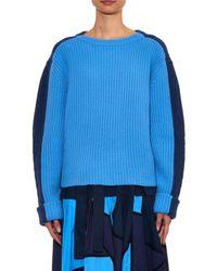 Chloé - Blue Bi-Colour Ribbed-Knit Cashmere Sweater - Lyst